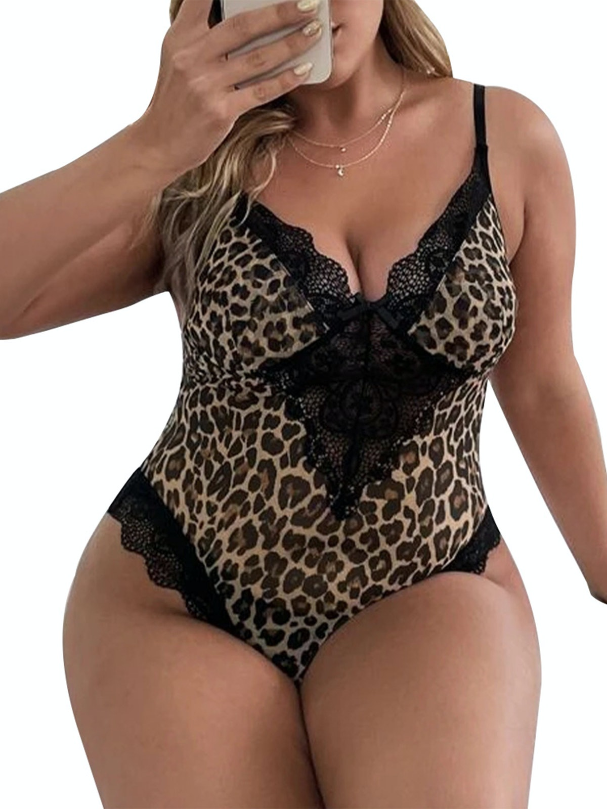 Hugossia Plus Size Womens Leopard Print One Piece Jumpsuit