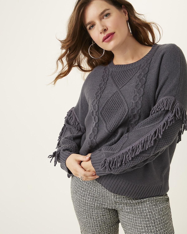 Belle Be Belledini Joan Cable Knit Fringe Sweater