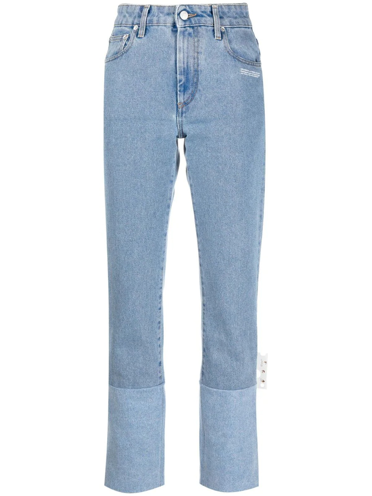 Off-White high-rise straight leg cuff jeans, available to shop via Farfetch.