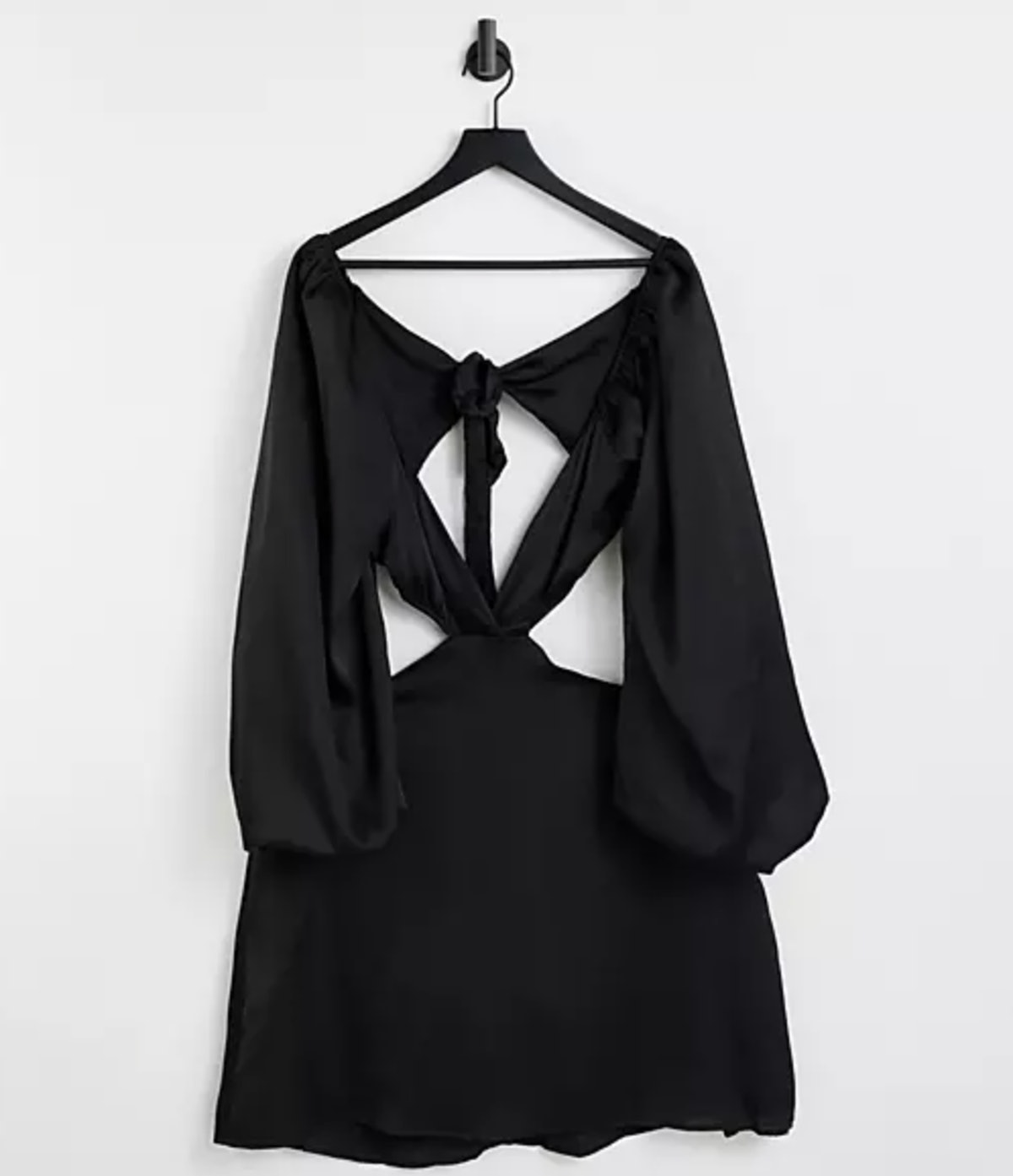 In The Style Plus x Yasmine Chanel satin cut out volume sleeve skater dress in black
