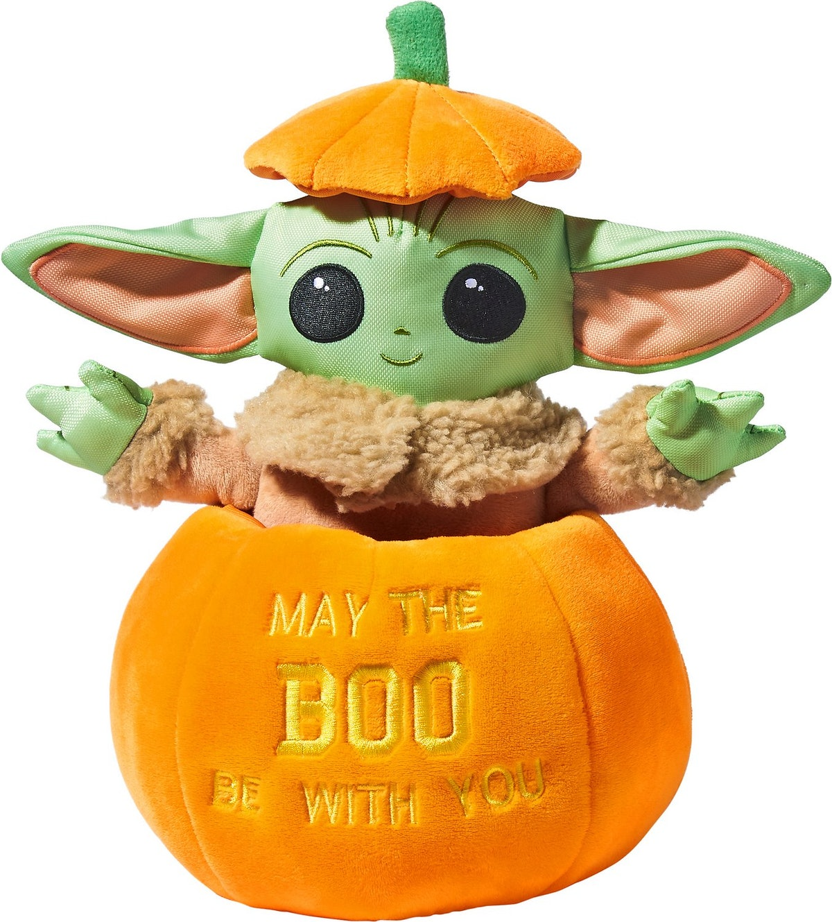 A Baby Yoda pumpkin dog toy is part of Chewy's Disney Halloween toy collection.