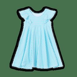 Gingham Check Twirl Dress Light Blue