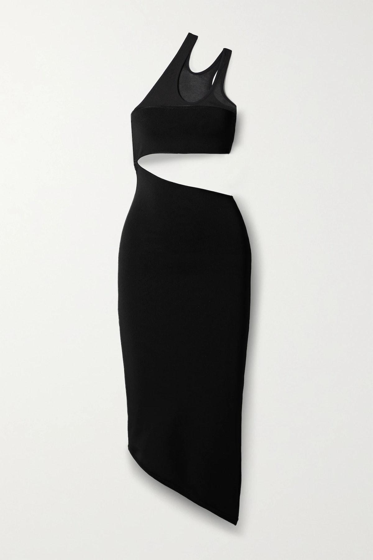 Mugler black knit cutout dress.