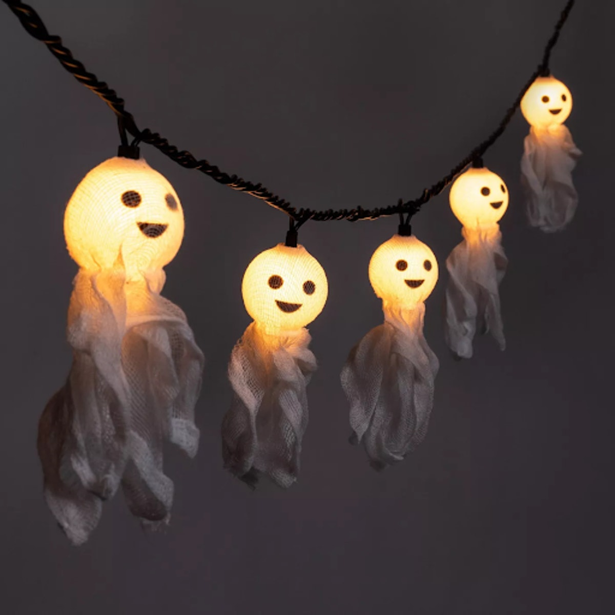10ct Incandescent Fabric Ghost Halloween String Lights
