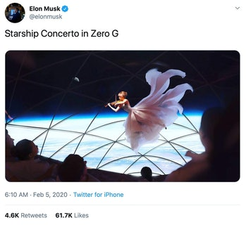 Musk's post showing a concert in zero gravity.