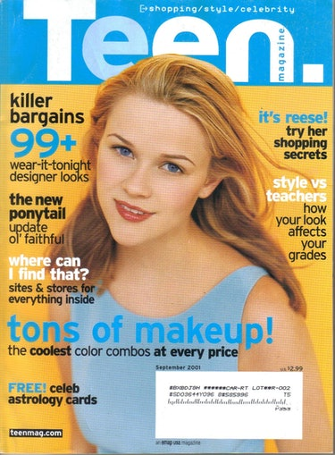 The September 2001 print edition of Teen magazine featuring Reese Witherspoon
