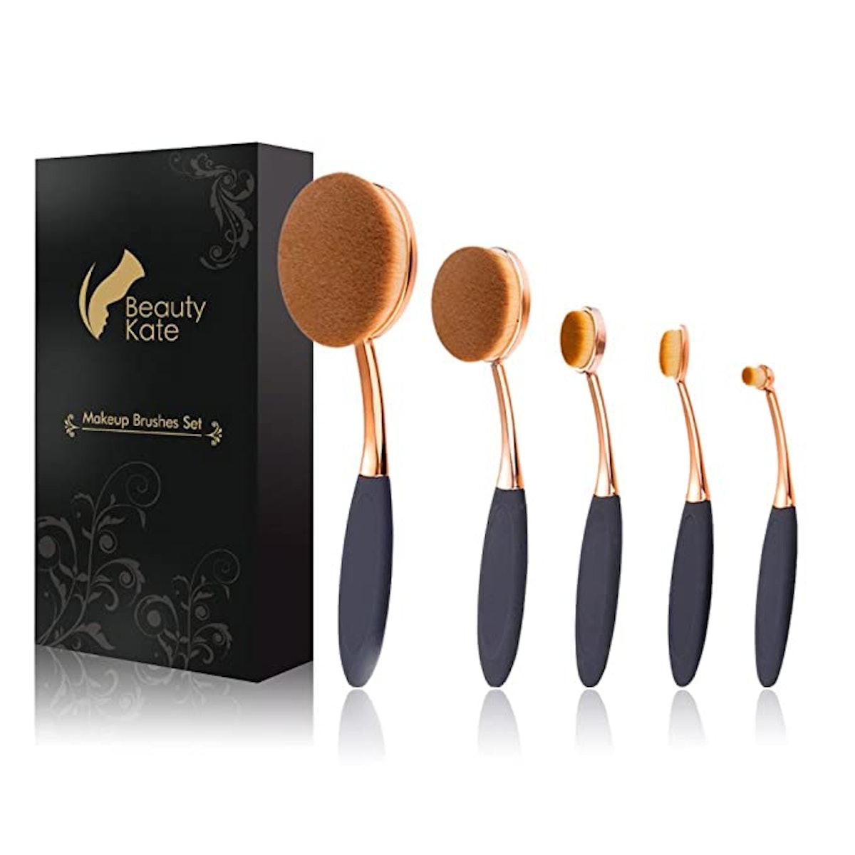 Beauty Kate Oval Makeup Brushes Set (5-Piece)