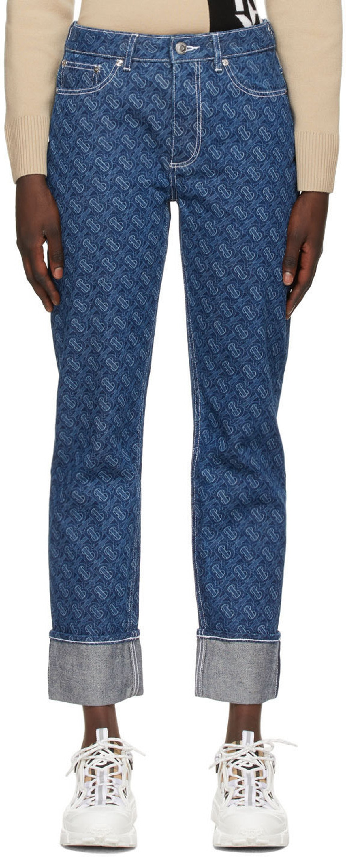 Blue TB Print Jeans from Burberry, available to shop via SSENSE.