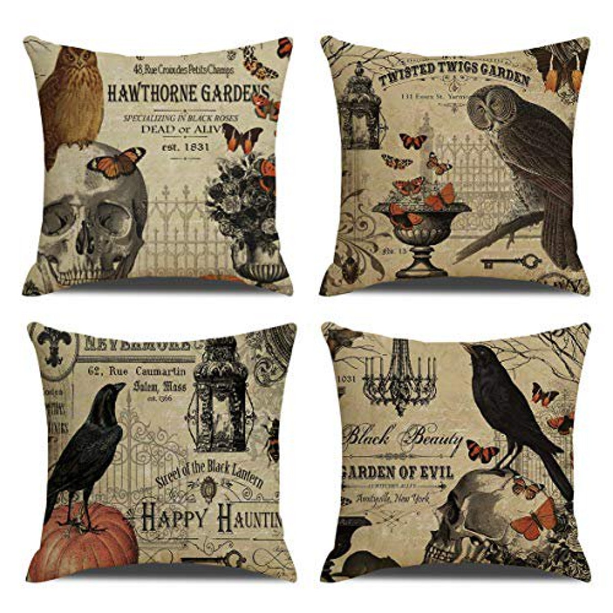 RUOAR Pack of 4 Vintage Halloween Throw Pillow Covers