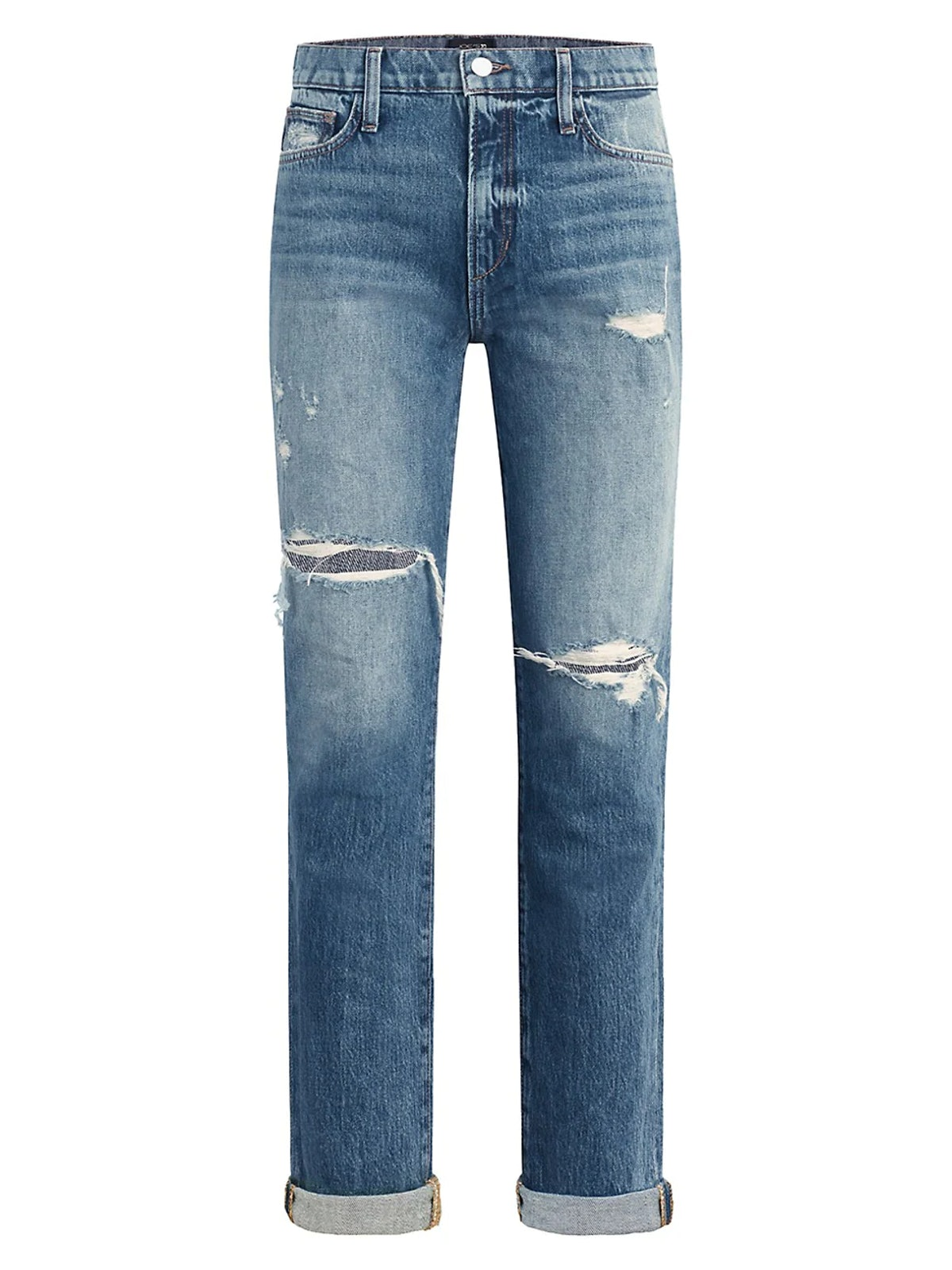 The Scout Distressed Double Roll Jeans from Joe's Jeans, available to shop via Saks Fifth Avenue.