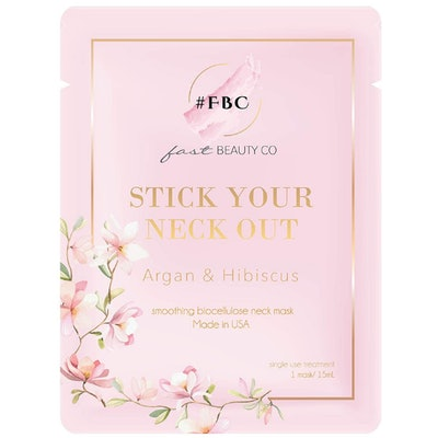 Fast Beauty Co. Stick Your Neck Out! Smoothing Biocellulose Neck Mask With Argan & Hibiscus