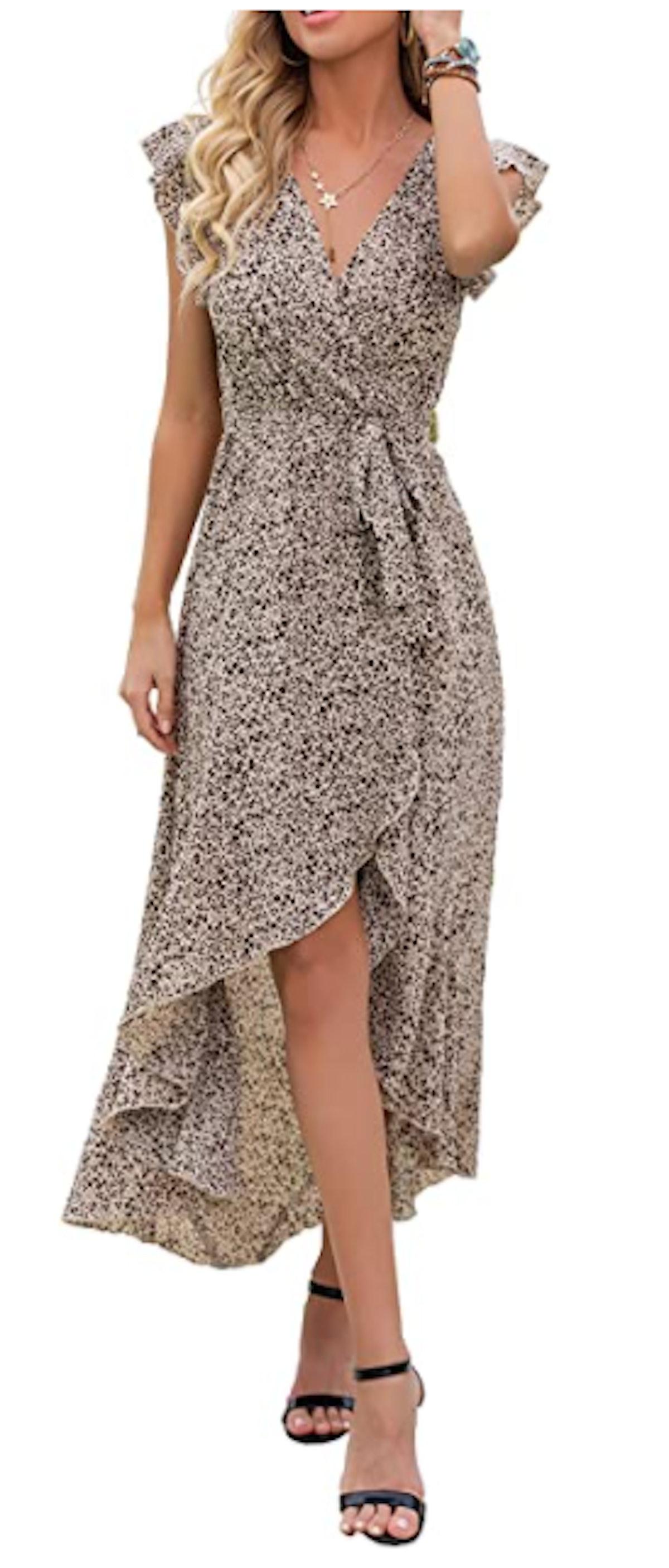 GRECERELLE V Neck Flowy Maxi Dress