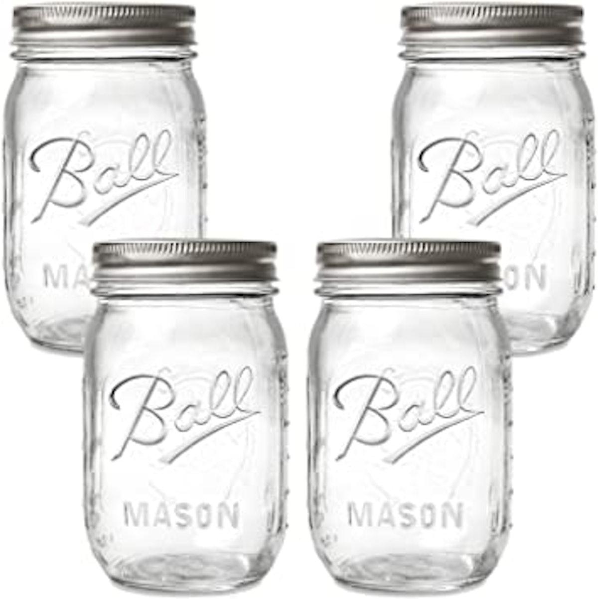 Ball 16oz 12pk Glass Regular Mouth Mason Jar with Lid and Band