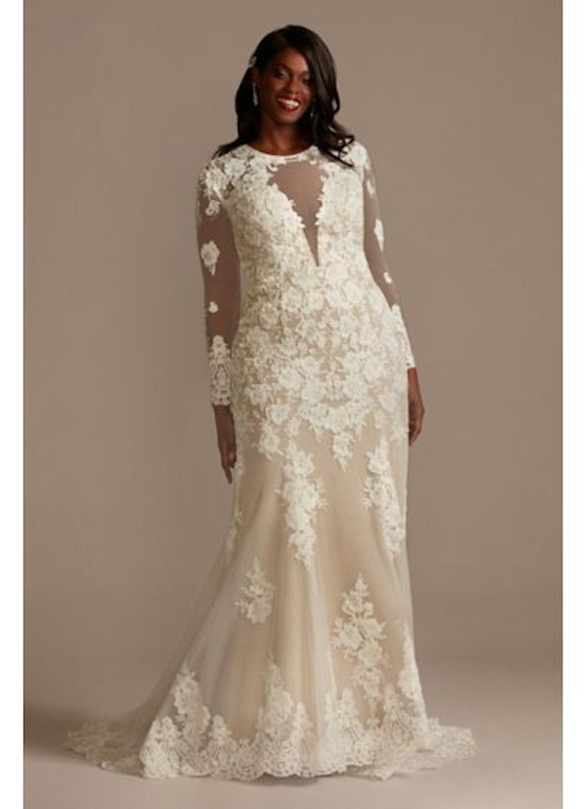 Long Sleeve Plus Size Sequin Floral Wedding Dress David's Bridal