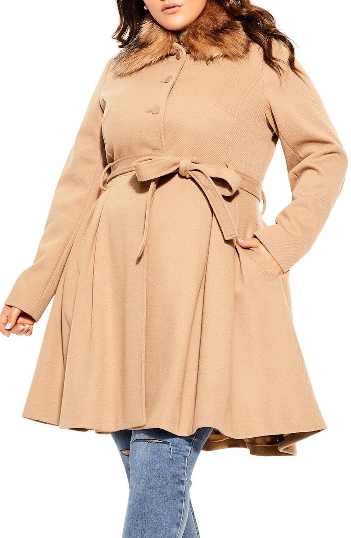 City Chic Blushing Belle Faux Fur Collar Coat