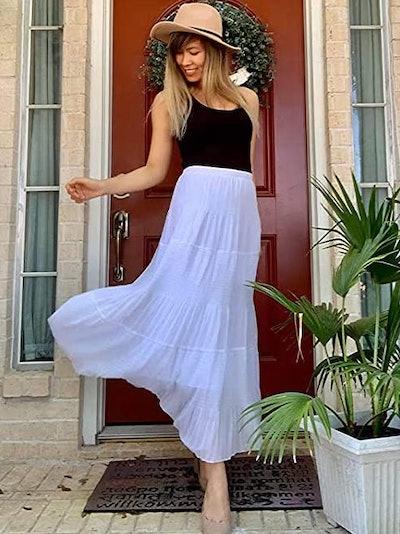 NASHALYLY A-Line Flared Maxi Skirt