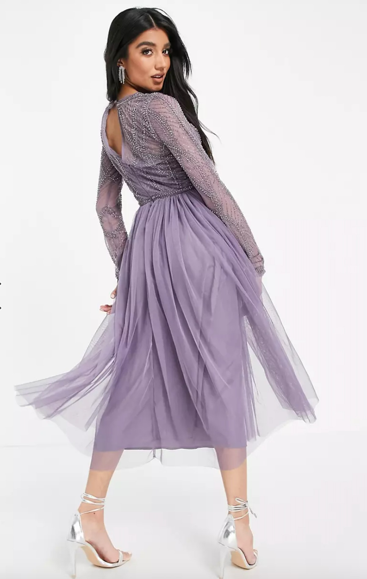 ASOS DESIGN Embellished Bodice Midi Dress