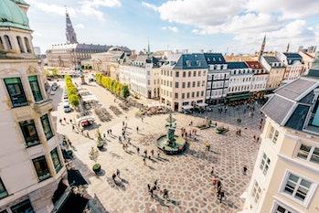 Copenhagen cityscape aerial view