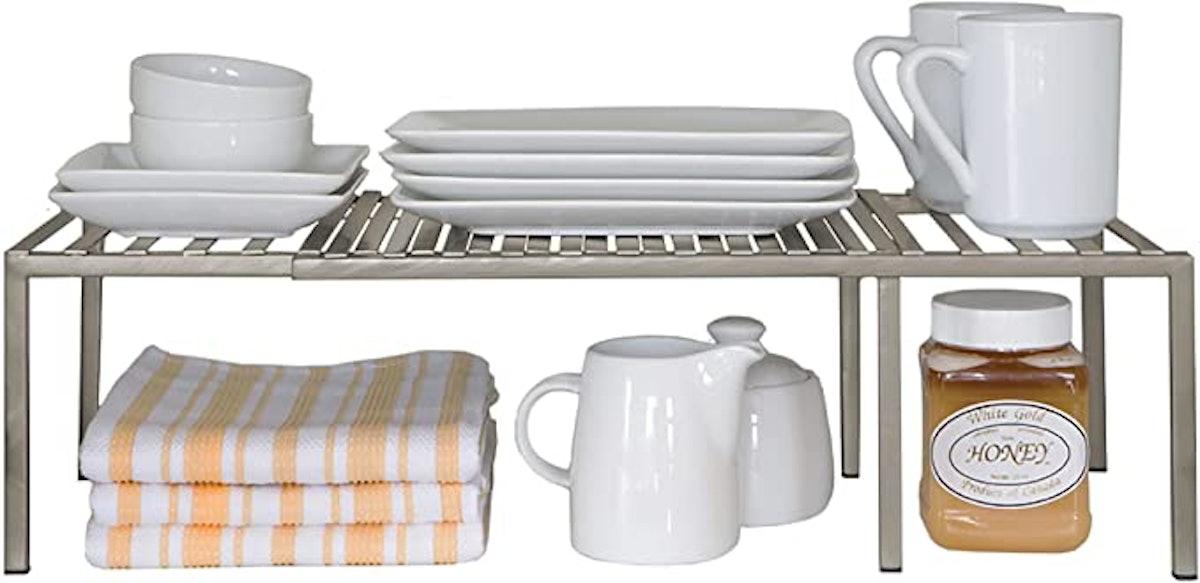 Seville Classics Iron Slat Expandable Kitchen Counter and Cabinet Shelf