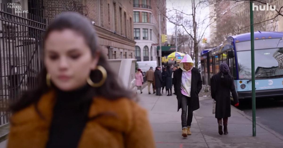 Tie-Dye Guy following Mabel (Selena Gomez) in Only Murders In The Building