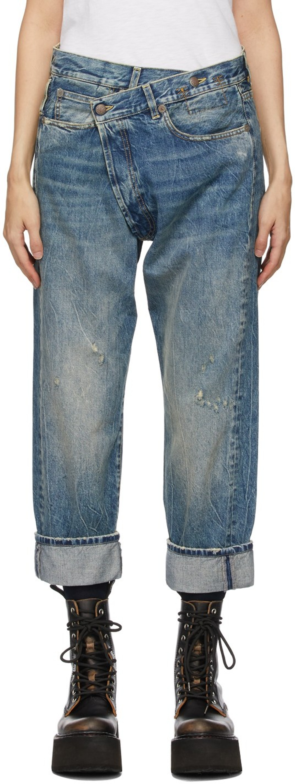 Blue Cross-Over Jeans from R13, available to shop via SSENSE.
