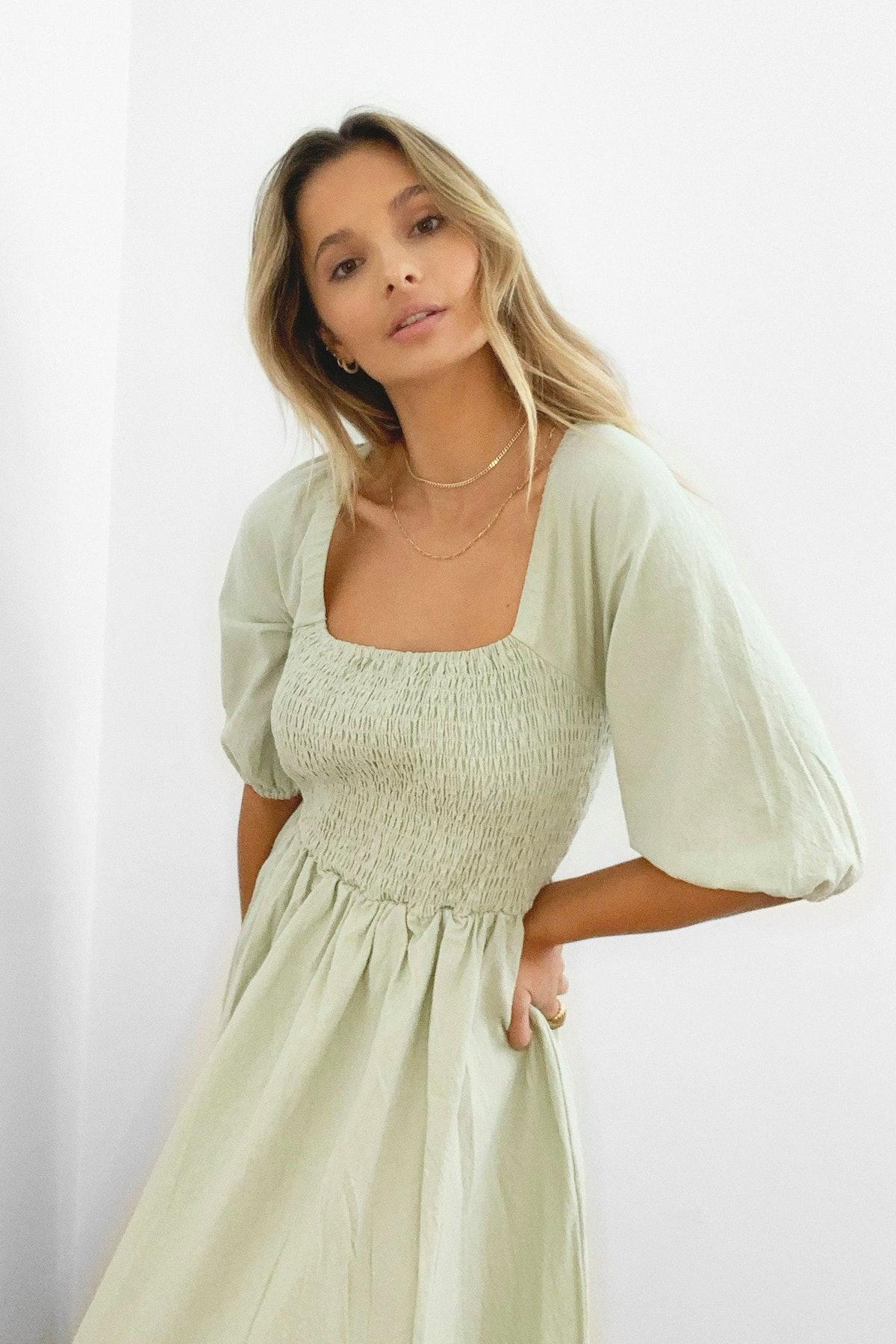 Shirred Bust Puff Sleeve Maxi Dress