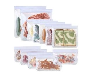 SPLF Dishwasher Safe Reusable Storage Bags (12-Pack)