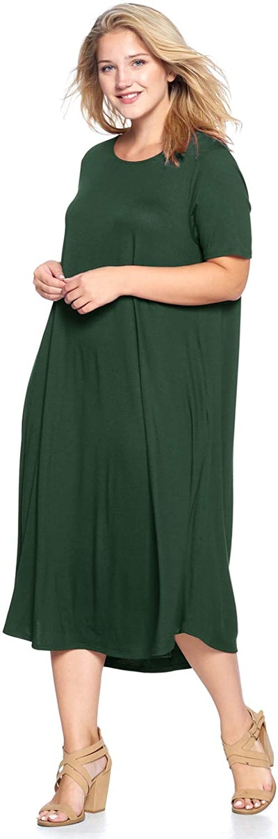 Modern Kiwi Short-Sleeve Midi-Maxi Dress