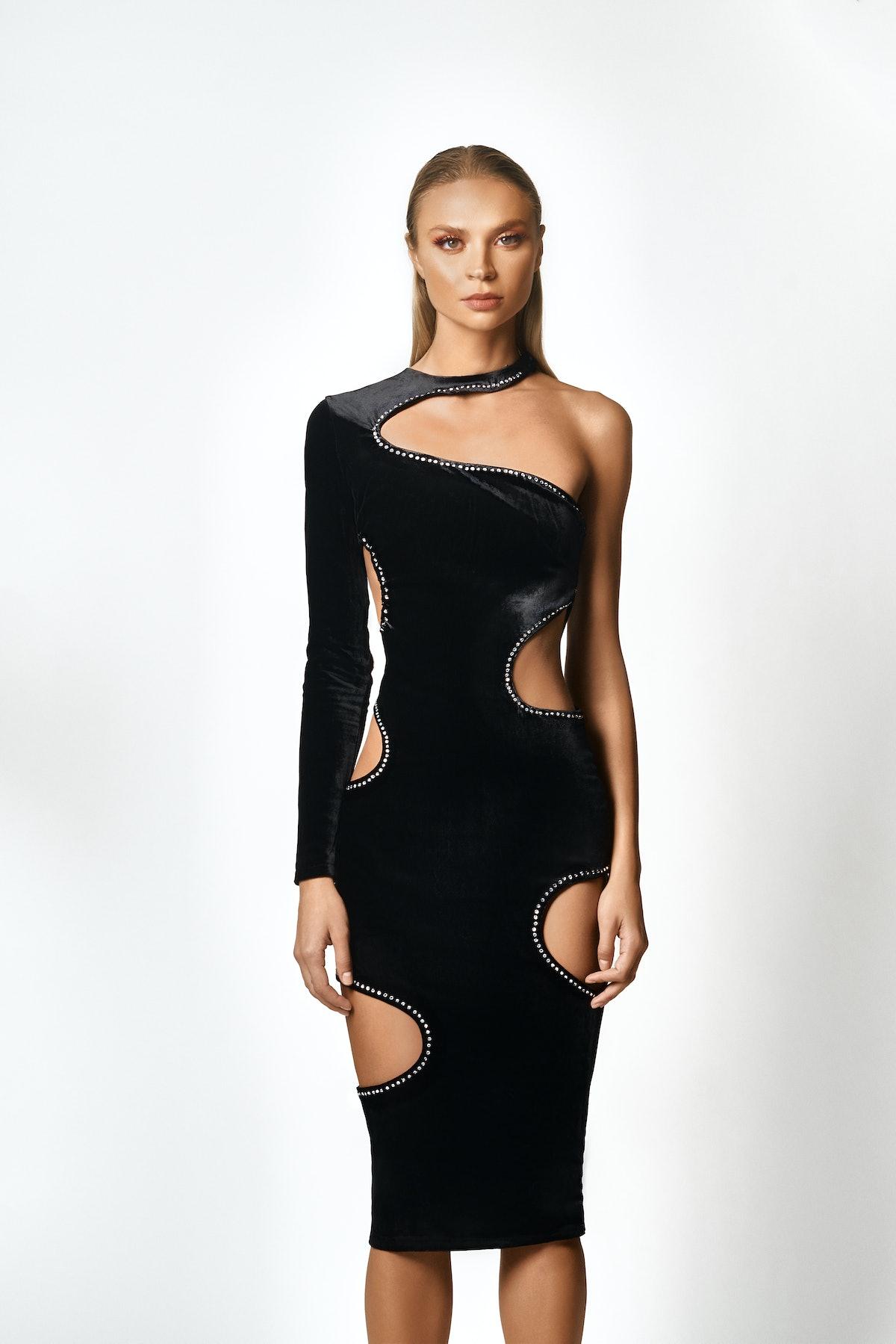ONKARRI's mid cutout Swarovski crystal black dress.