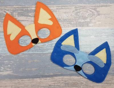 Bluey and Bandit costume face masks