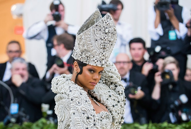 Rihanna as the Pope at the 2019 Met Gala.