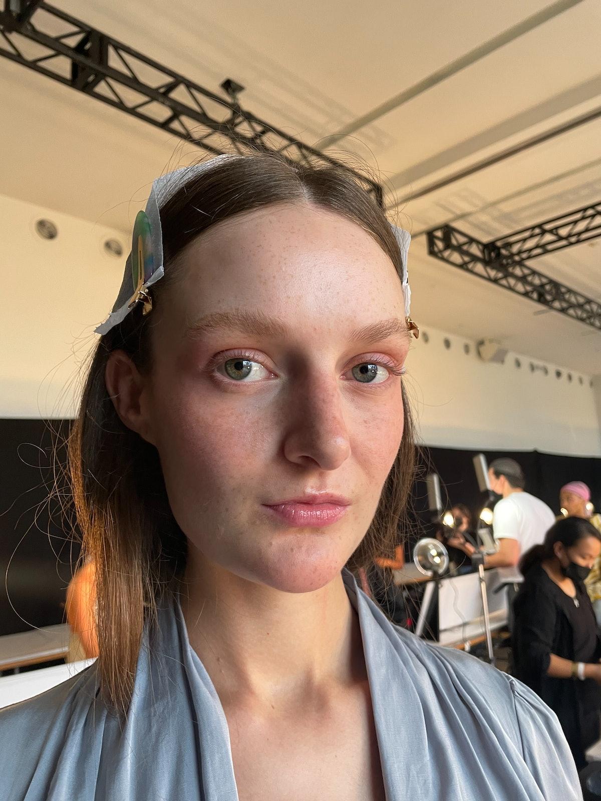 Bevza blush look on a model backstage