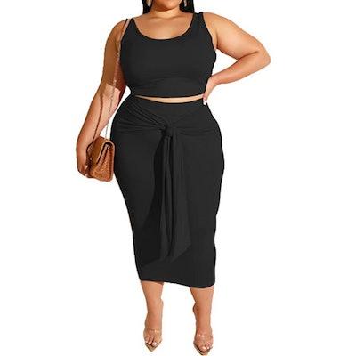 MRSFITOK Plus Size Tank Top Bodycon Skirt Set