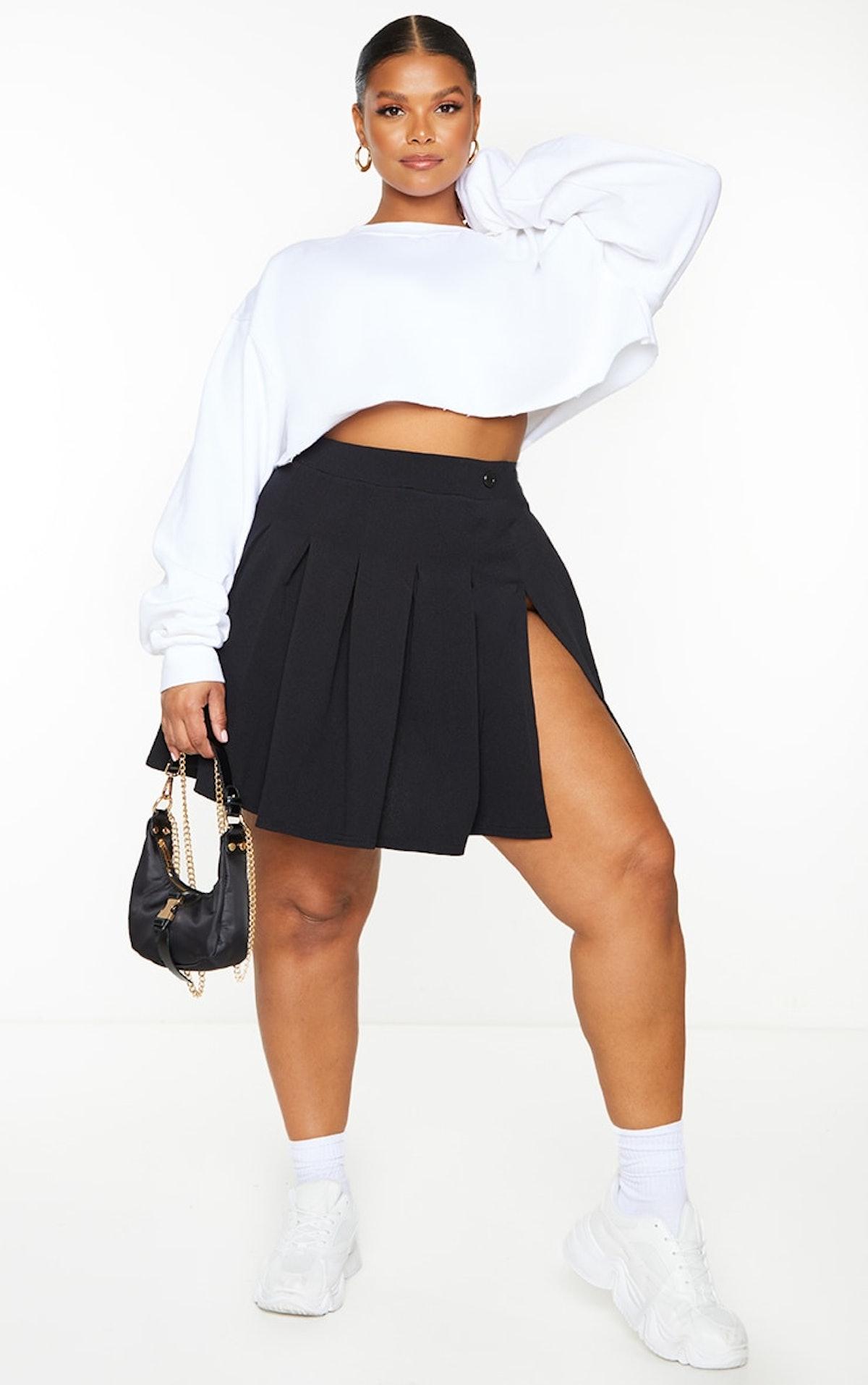 Plus Black Pleated Side Split Tennis Skirt
