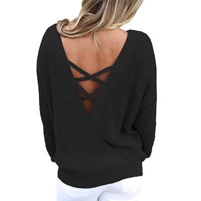 Asvivid Criss Cross V Back Sweater