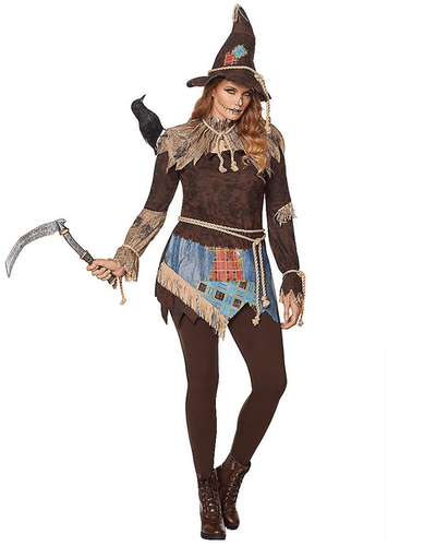 This adult creepy scarecrow costume for women is available from Spirit Hallwoeen.
