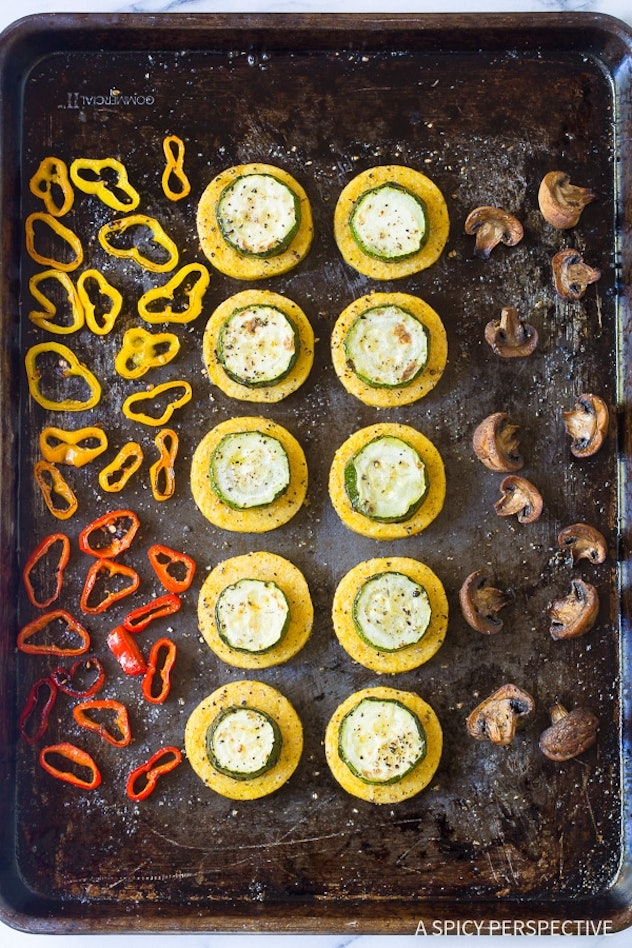 gluten-free polenta and vegetable stacks cooked on a sheet pan
