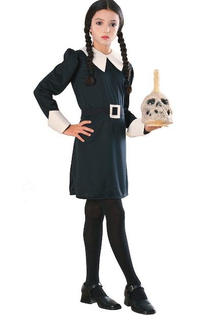 Girl wearing a Wednesday Addams costume