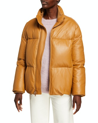Zip-Front Leather Puffer Jacket from Vince, available to shop via Neiman Marcus.
