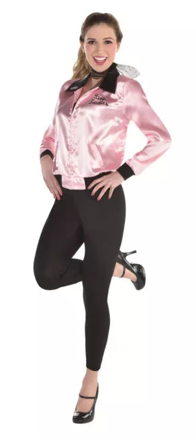 This adult Grease Lightnin' Halloween costume is one choice for women.
