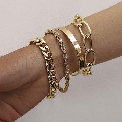 fxmimior Chain Bracelets Set (4-Pack)