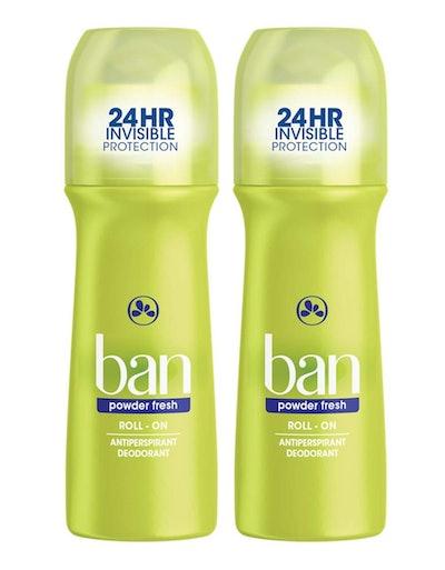 Ban Powder Fresh 24-Hour Invisible Antiperspirant (2-Pack)