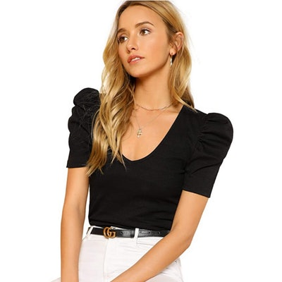 Romwe Puff Sleeve V-Neck T-Shirt