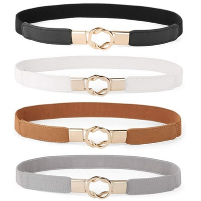 WERFORU Skinny Stretch Belt (4-Pack)