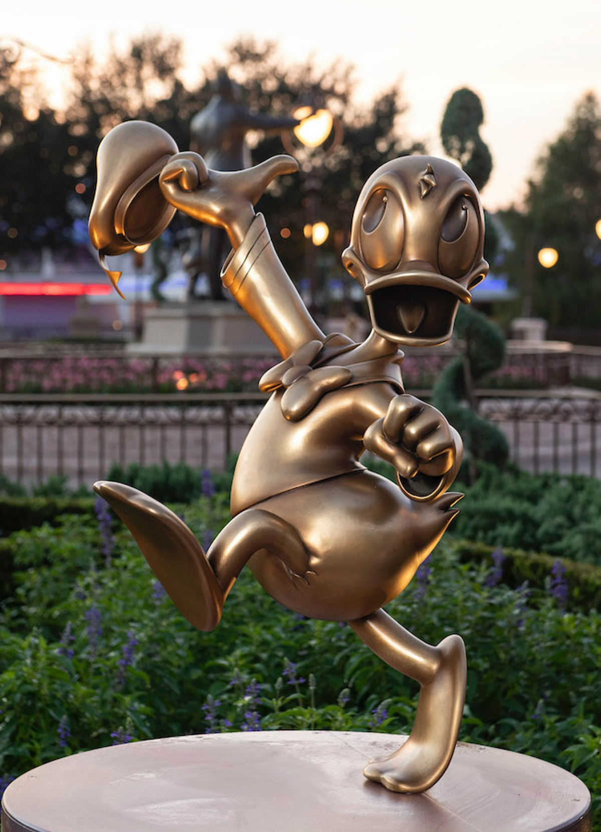 There's a Donald Duck golden statue at Disney World for its 50th anniversary.