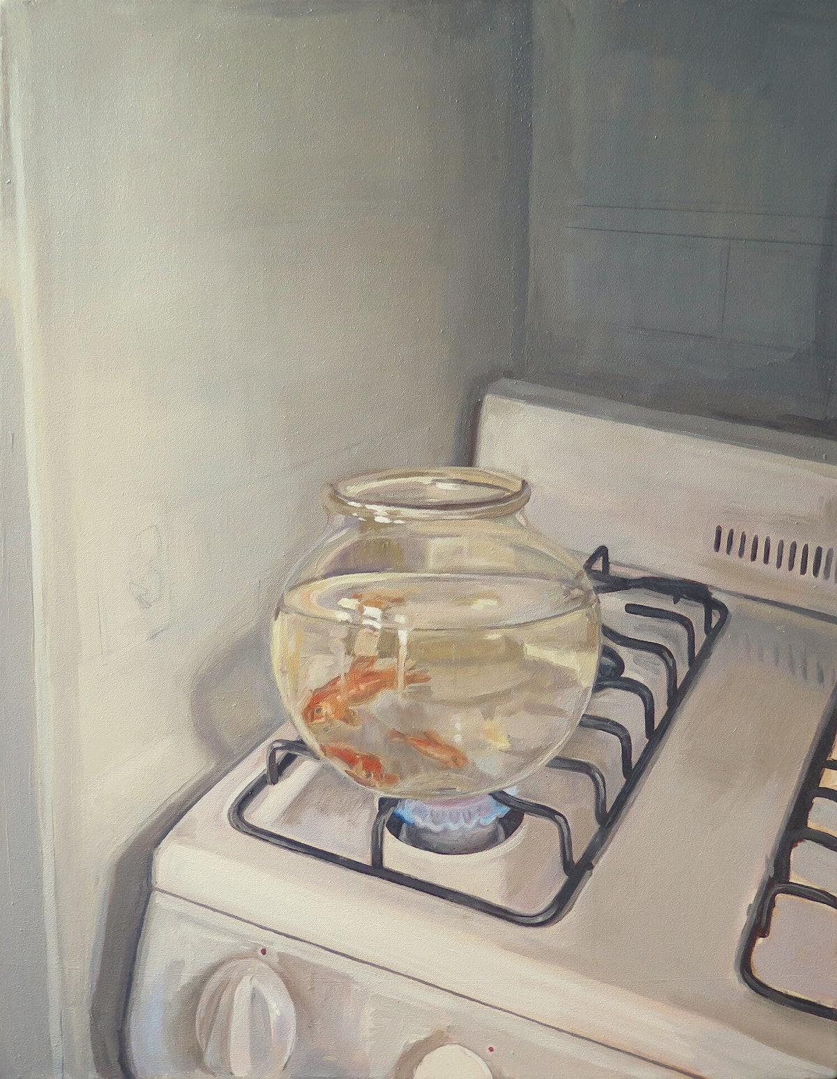 نقاشی یک کاسه ماهی قرمز بر روی یک اجاق گاز روشن توسط Shannon Cartier Lucy