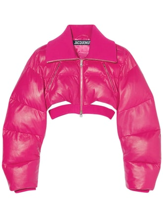 La Doudoune Pralù pink leather puffer jacket from Jacquemus, available to shop via LUISAVIAROMA.