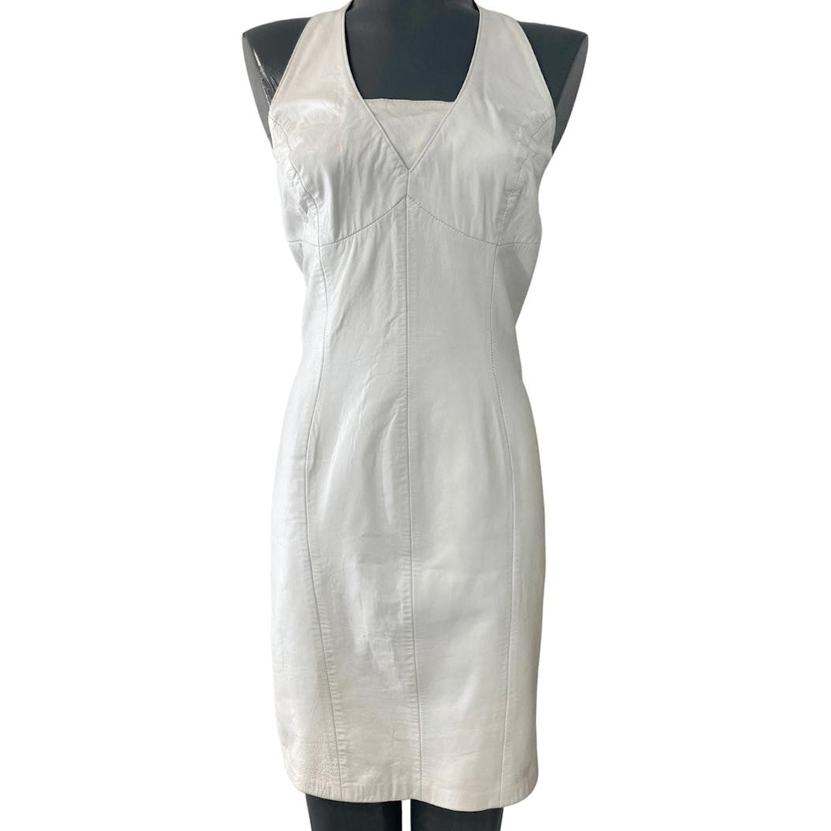 90's White Leather Halter Top Dress Hugo Buscati