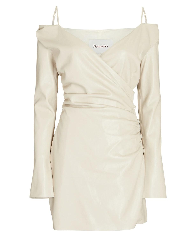 Moha Cold-Shoulder Vegan Leather Dress  Nanushka