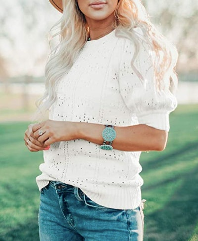 Foshow Puff-Sleeve Sweater